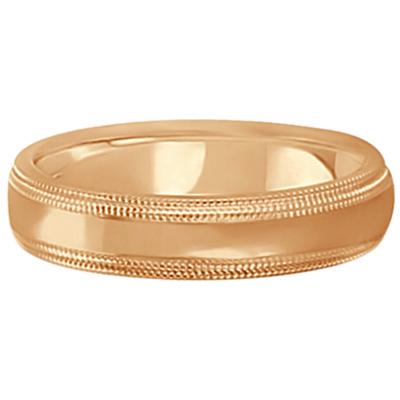 Shiny Double Milgrain Carved Wedding Ring Band 18k Rose Gold (4mm)