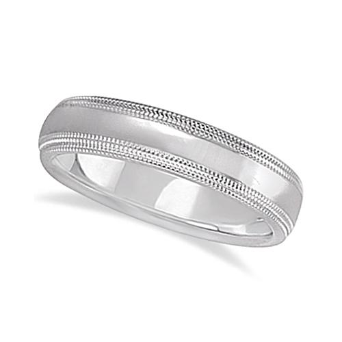 Shiny Double Milgrain Carved Wedding Ring Band 18k White Gold (4mm)