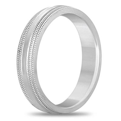 Shiny Double Milgrain Carved Wedding Ring Band Palladium (4mm)
