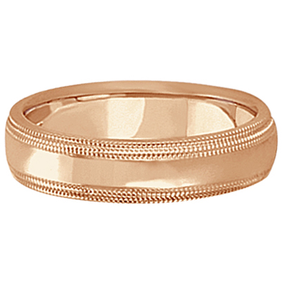 Mens Shiny Double Milgrain Wedding Ring Band 14k Rose Gold (5mm)