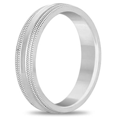 Mens Shiny Double Milgrain Wedding Ring Band 14k White Gold (5mm)