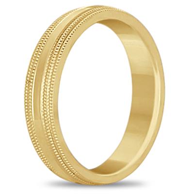 Mens Shiny Double Milgrain Wedding Ring Band 14k Yellow Gold (5mm)