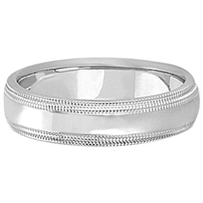 Mens Shiny Double Milgrain Wedding Ring Band 18k White Gold (5mm)