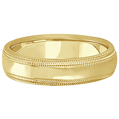 Mens Shiny Double Milgrain Wedding Ring Band 18k Yellow Gold (5mm)