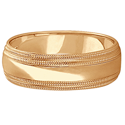 Mens Shiny Double Milgrain Wedding Ring Wide Band 14k Rose Gold (7mm)