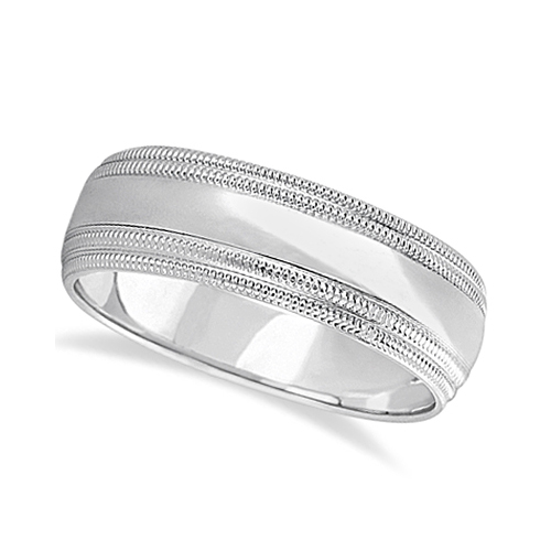 Mens Shiny Double Milgrain Wedding Ring Wide Band 14k White Gold (7mm)