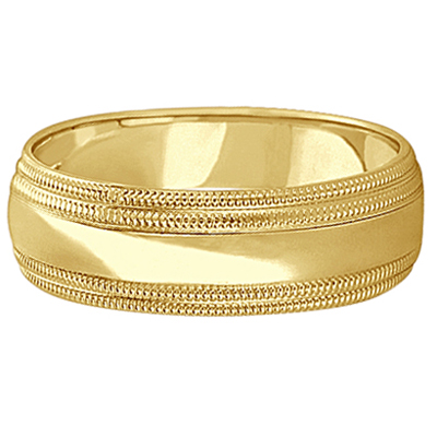 Mens Shiny Double Milgrain Wedding Ring Wide Band 14k Yellow Gold (7mm)