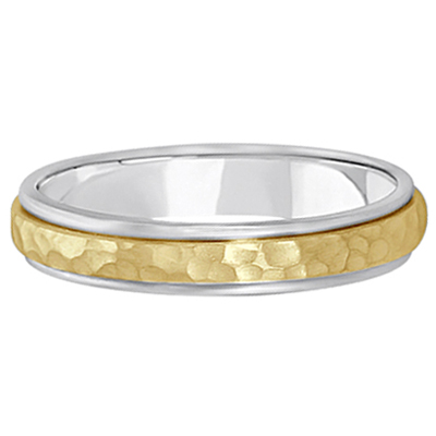 Satin Hammered Finished Carved Wedding Ring Band 14k Two-Tone Gold (4mm)