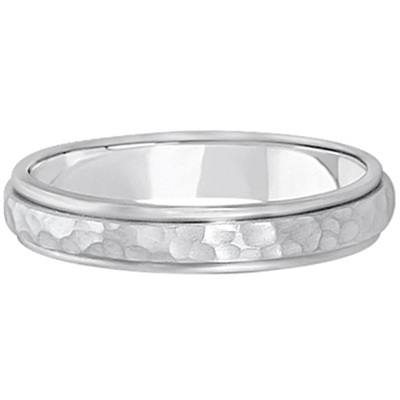 Satin Hammered Finished Carved Wedding Ring Band 14k White Gold (4mm)