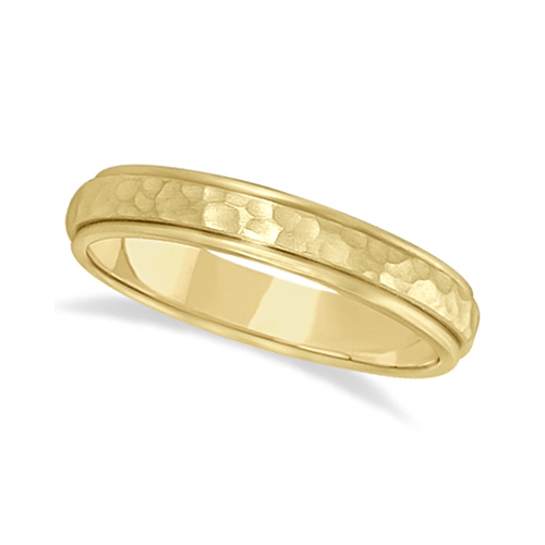 Satin Hammered Finished Carved Wedding Ring Band 14k Yellow Gold (4mm)