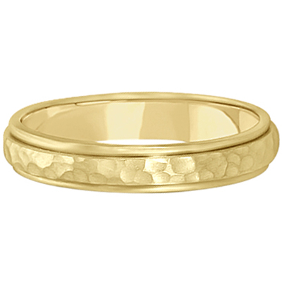 Satin Hammered Finished Carved Wedding Ring Band 18k Yellow Gold (4mm)