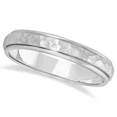 Satin Hammered Finished Carved Wedding Ring Band Palladium (4mm)