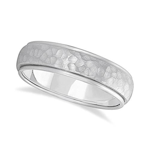 Mens Satin Hammer Finished Wedding Ring Wide Band 14k White Gold (6mm)