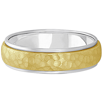 Mens Satin Hammer Finished Wedding Ring Wide Band 14k Two-Tone Gold (6mm)