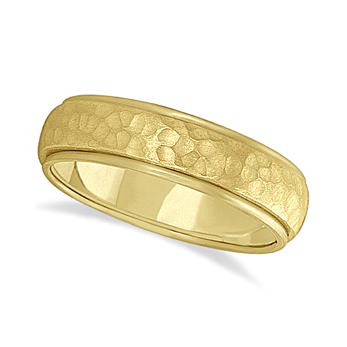 Mens Satin Hammer Finished Wedding Ring Wide Band 14k Yellow Gold (6mm)