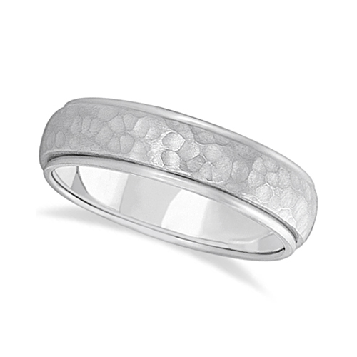 Mens Satin Hammer Finished Wedding Ring Wide Band 18k White Gold (6mm)