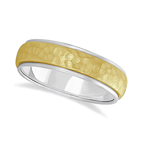 Mens Satin Hammer Finished Wedding Ring Wide Band 18k Two-Tone Gold (6mm)