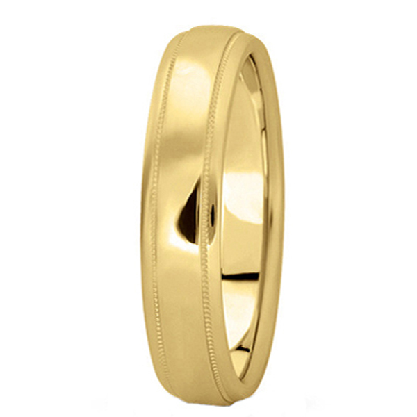 Carved Wedding Band in 14k Yellow Gold (4mm)