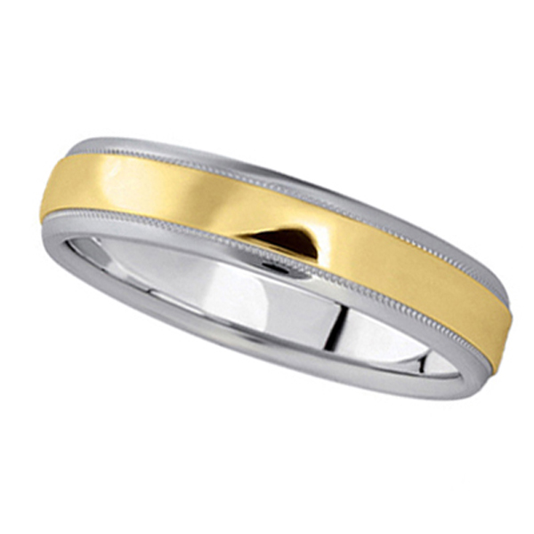 Carved Two-Tone Wedding Band in 18k White & Yellow Gold (4mm)