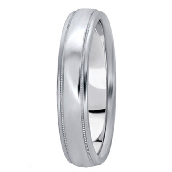 Carved Platinum Wedding Ring Band (4mm)