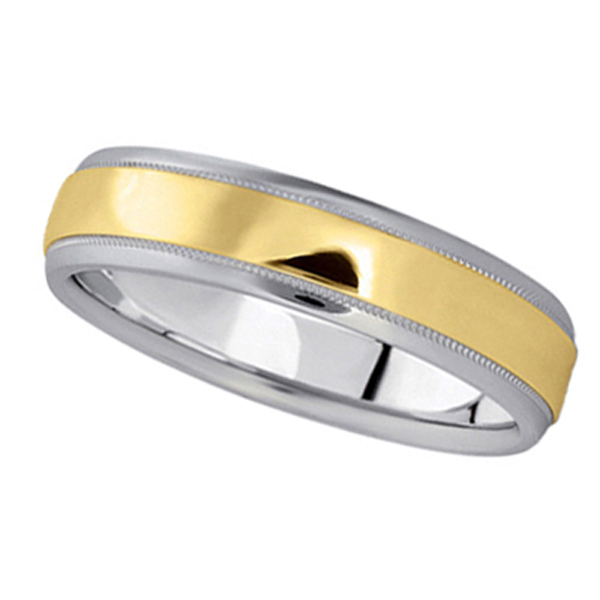 Men's Carved Two-Tone Wedding Band in 14k White & Yellow Gold (5mm)