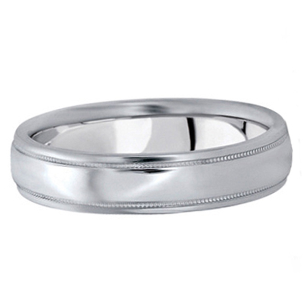 Men's Carved Wedding Band in 18k White Gold (5mm)
