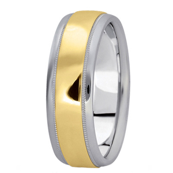 Men's Carved Two-Tone Wedding Band (7mm)