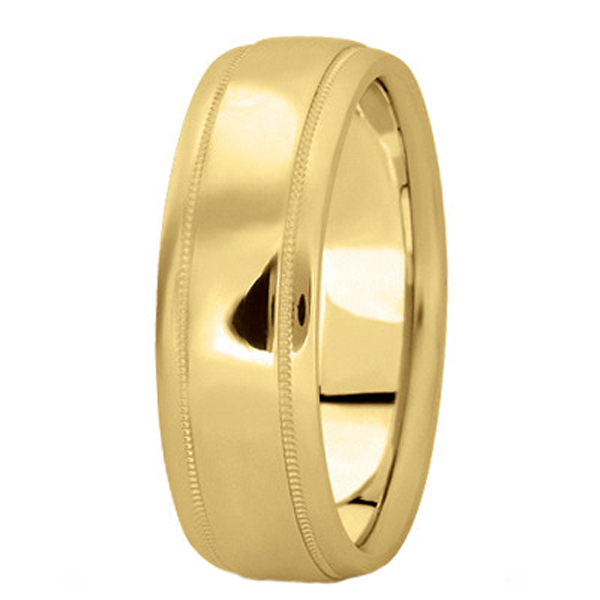 Men's Carved Wedding Band in 14k Yellow Gold (7mm)