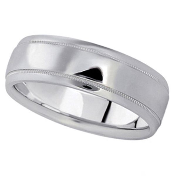 Men's Carved Wedding Band in 18k White Gold (7mm)