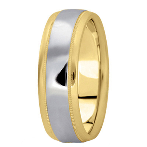Men's Carved Two-Tone Wedding Band in 18k White & Yellow Gold (7mm)
