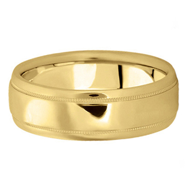Men's Carved Wedding Band in 18k Yellow Gold (7mm)