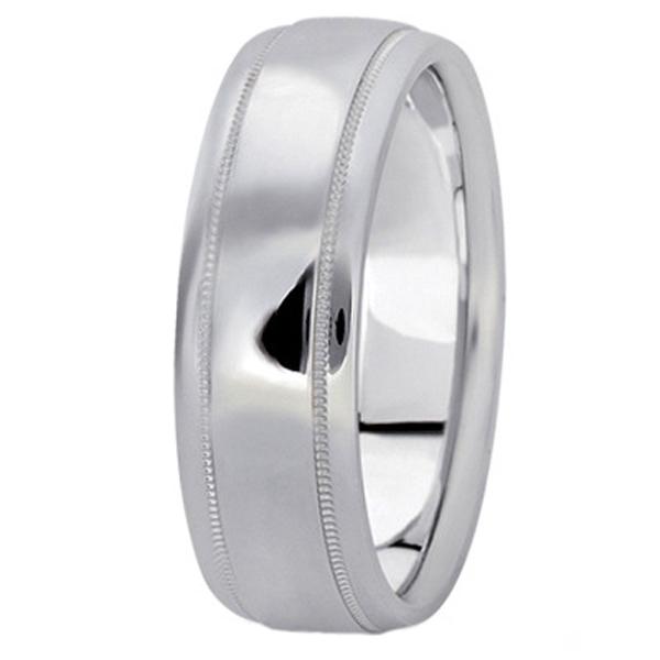 Men's Carved Platinum Wedding Band (7mm)