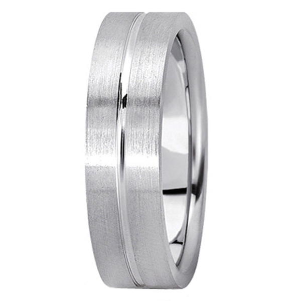 Men's Carved Flat Wedding Band in 14k White Gold (6mm)