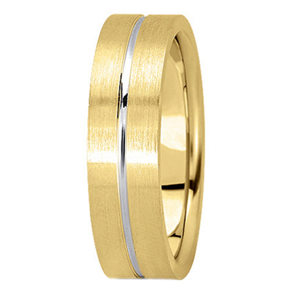 Men's Carved Two-Tone Wedding Band 14k White & Yellow Gold (6mm)