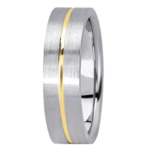 Men's Carved Two-Tone Wedding Band 18k White & Yellow Gold (6mm)