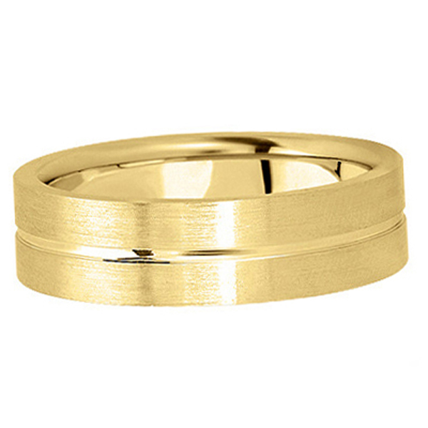 Men's Carved Flat Wedding Band in 18k Yellow Gold (6mm)
