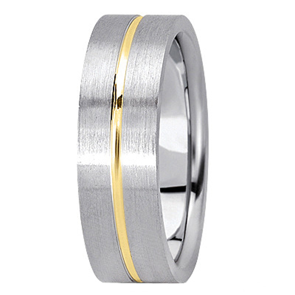 Men's Carved Two-Tone Wedding Band 18k White & Yellow Gold (7mm)