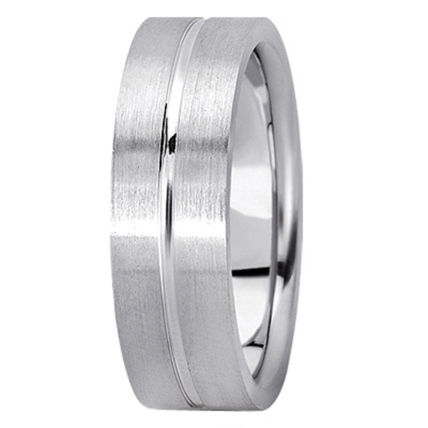 Men's Carved Flat Wedding Band in 18k White Gold (7mm)