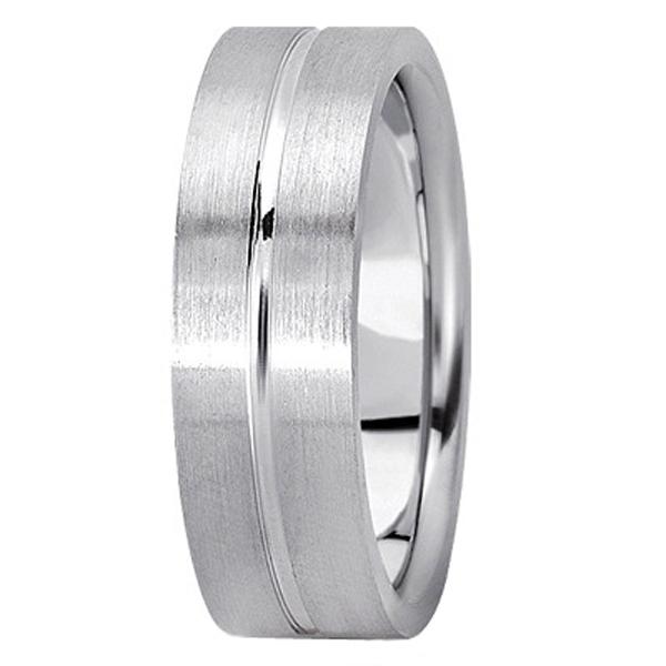 Men's Carved Flat Wedding Band in Platinum (7mm)