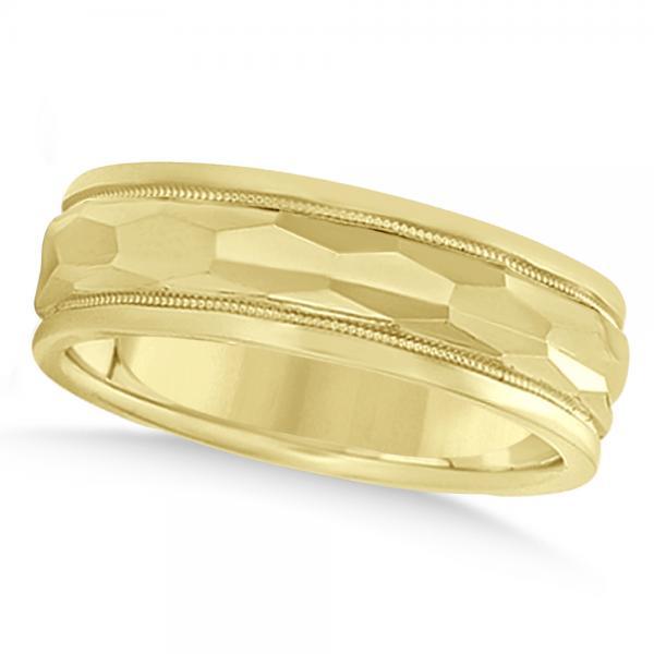 Men's Diamond-Cut Carved Wedding Band Plain Metal 14k Yellow Gold 7mm