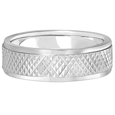 Men's Diamond Carved Inlay Wedding Ring Band Palladium (7mm)