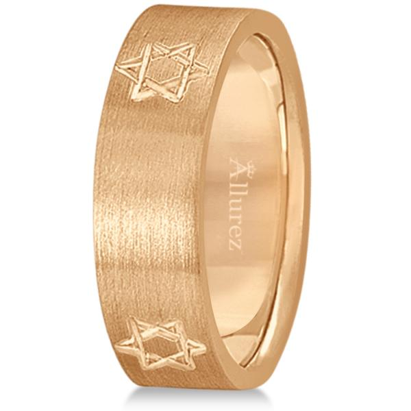 Jewish Star of David Mens Carved Wedding Ring Band 18k Rose Gold (7mm)