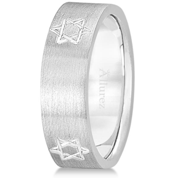 Jewish Star of David Mens Carved Wedding Ring Band 18k White Gold (7mm)