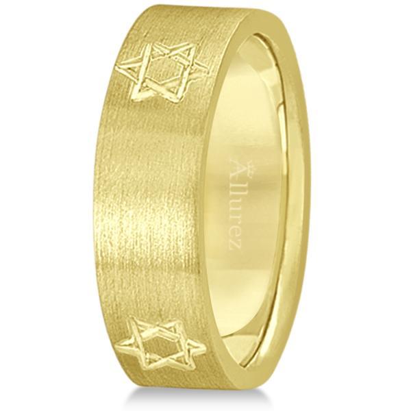 Jewish Star of David Mens Carved Wedding Ring Band 18k Yellow Gold (7mm)