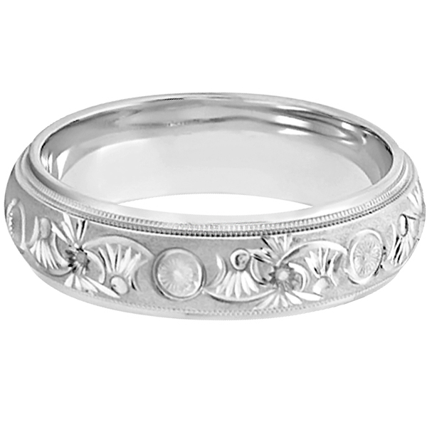 Hand Engraved Floral Wedding Ring in 18k White Gold (6mm)