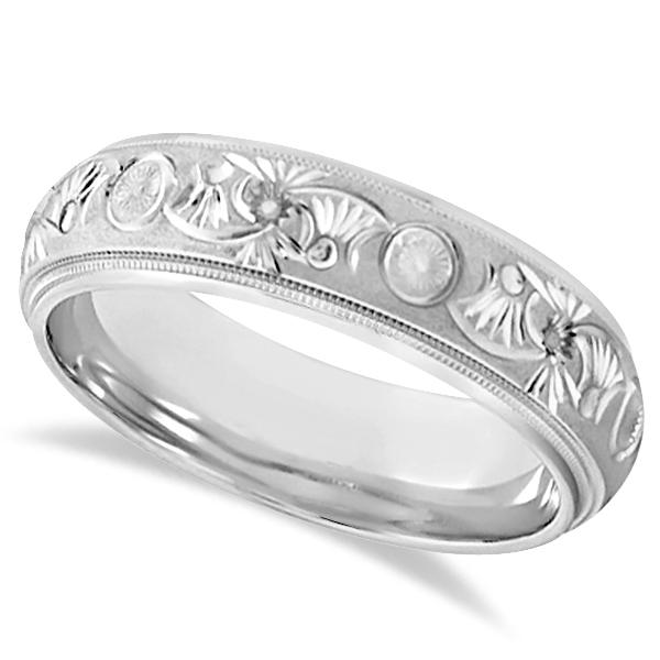 Hand Engraved Floral Wedding Ring in Palladium (6mm)