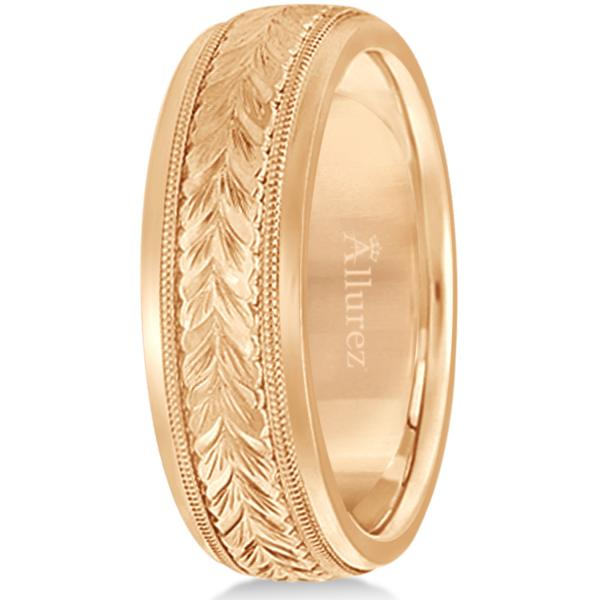Hand Engraved Wedding Band Carved Ring in 14k Rose Gold (4.5mm)