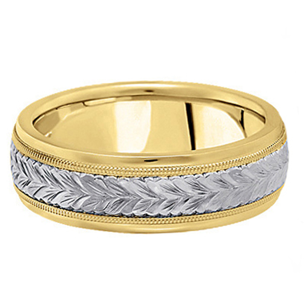 Hand Engraved Two Tone Wedding Band Carved Ring in 14k Gold (4.5mm)