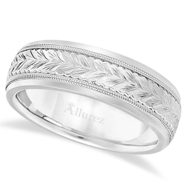 Hand Engraved Wedding Band Carved Ring in Palladium (4.5mm)