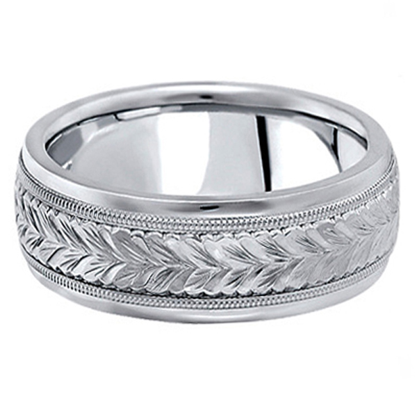 Hand Engraved Wedding Band Carved Ring in Palladium (6.5mm)